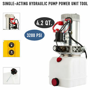 1 Gallon Single acting Hydraulic Pump 12v For Wood Splitter Dump Bed Tow Plow