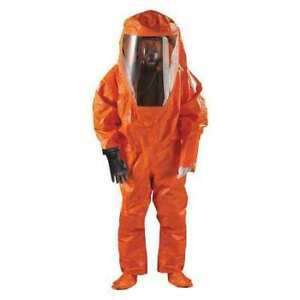 Ansell 68 6000 Encapsulated Suit L Orange Chemical Laminate Gas Tight