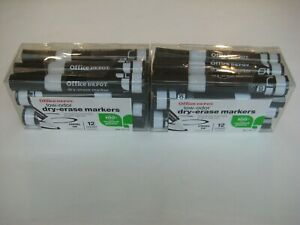 New Office Depot Low odor Chisel Tip Dry Erase Markers 24 Black Markers