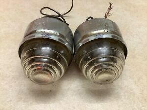 Pair Truck Back Up Light Vintage Auto Do ray 470 Running Lamp Glass Lens