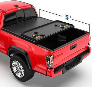 Tri fold 5ft Hard Truck Bed Tonneau Cover For 2016 2021 Toyota Tacoma On Top