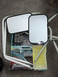 2 Vintage Universal Side Mirrors Lo mount Pathfinder 1970s Braces Box