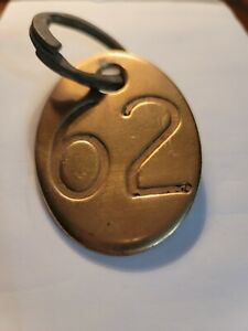 Brass Cow Tag 62 Double Sided Vintage