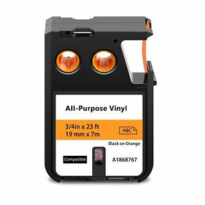 All purpose Labels Label Tape Compatible With Dymo 1868767 19mm Black On Orange