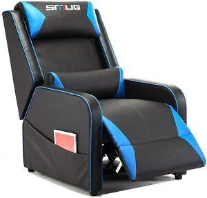 Gaming Recliner Chair Racing Single Lounge Sofa Home Seat Pu Leather Blue