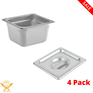 4 Pack 4 In Deep Solid Steam Table Hotel Pan With Cover Stainless Steel New