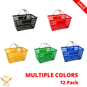 12 Pack Plastic Grocery Convenience Store Shopping Basket Tote Multiple Colors