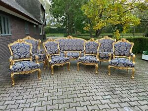 French Louis Xvi Sofa Set With 4 Chairs And Two B Rg Res In Dark Blue