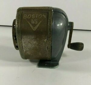 Vintage Metal Boston Pencil Sharpener 8 Hole Wall Table Desk Mount Desktop