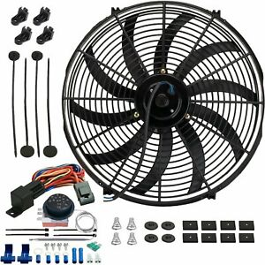 17 Inch 130w Motor Electric Radiator Cooling Fan Adjustable Temp Thermostat Kit