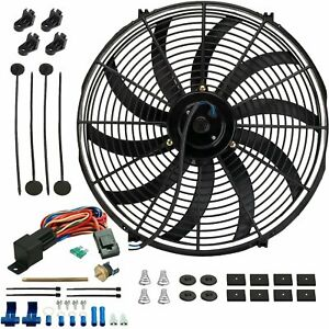 16 Inch 130w Electric Radiator Cooling Fan 180 f Probe Thermostat Switch Kit