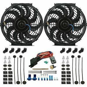 Dual 12 Inch Electric Radiator Fan Push in Fin Probe 180f Thermostat Switch Kit