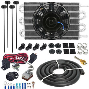 6 Row Trans mission Oil Cooler Electric Fan Adjustable Thermo Switch Wiring Kit