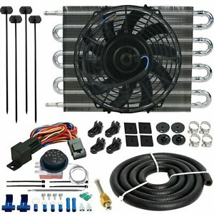 8 Row Auto Transmission Oil Cooler Electric Fan Adjustable Controller Switch Kit