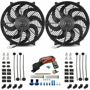 Dual 14 Inch 120w Electric Fan Radiator Push in Probe 180 f Thermostat Wire Kit