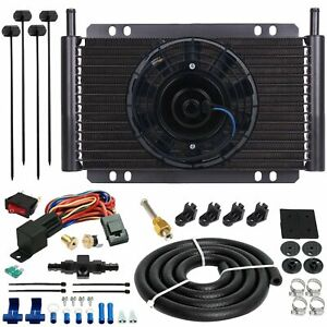 15 Row Engine Transmission Oil Cooler Fan 6an In Hose 180f Thermostat Switch Kit