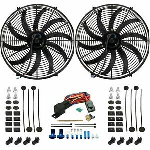 Dual 16 Inch 130w Electric Cooling Fan Push in Fin 180 f Thermostat Switch Kit