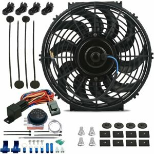 13 Inch 120w Motor Electric Radiator Cooling Fan Adjustable Temp Thermostat Kit