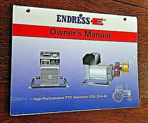 Endress Pto Owner s Manual Ezg 25 4 60 Generator Book Power Electric Tractor Jd