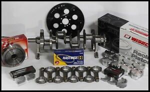 Sbc Chevy 434 Assembly Scat Wiseco Flat Top 4 155 Pistons 2pc Rms 350 Mains