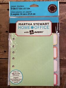Martha Stewart Home Office Avery Paper Dividers 5 tab 5 1 2 X 8 1 2 New