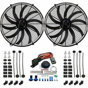 Dual 17 Inch Electric Car Truck Radiator Fans Adjustable Controller Wiring Kit
