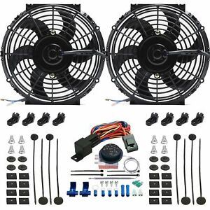 Dual 11 Inch Electric Radiator Fan Adjustable Controller Thermostat Switch Kit