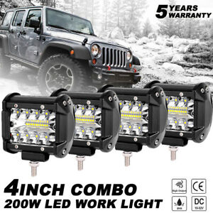 4x 4inch Led Work Light Bar 4wd Offroad Spot Pods Fog Atv Suv Driving Lamp White