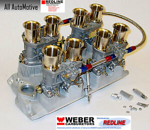 Small Block Chevy 283 327 350 Weber Kit Withintake Linkage Amp Genuine 44idf Webers