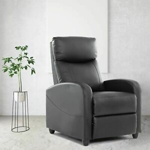 Pu Leather Recliner Chair Living Room Single Sofa Home Theater Seating Black