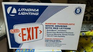 Lithonia Lighting Quantum Thermoplastic Led Emergency Exit Sign New