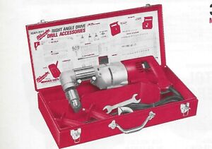 Milwaukee Electric 1 2 Reversing Right Angle Drill Variable Speed Kit