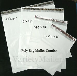 20 Poly Bag Mailer Variety Pack 4 Large Sizes 2 5 Mil Quality Shipping Bags
