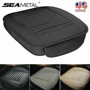 2pcs Car Front Seat Cover Breathable Pu Leather Pad Chair Cushion Full Surround