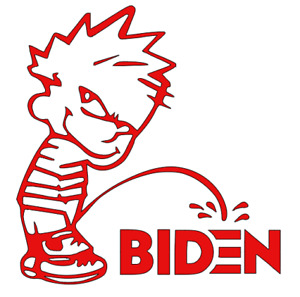 Joe Biden Calvin Pee On Funny Die Cut Vinyl Window Decal Sticker Car Laptop