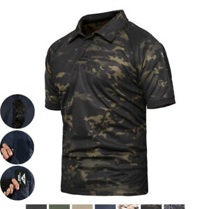 Mens Airsoft Tactical Short T Shirt Military POLO Camo Army Casual Camo Shirt $16.99