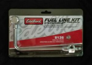 Edelbrock 8126 Carburetor Fuel Line Kit Single Feed Chrome Steel For Edelbrock
