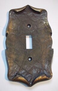 Metal Switch Plate Cover Single Antique Gold Vintage