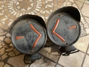 Pair Vintage Turn Signal Lamp Arrow Safety No 7 Early Truck Light