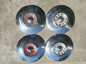 55 56 Ford Dog Dish Hub Caps 10 1 2 Set Of 4 Hubcaps 1955 1956