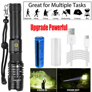 Rechargeable 990000lm Military Led Flashlight Portable Waterproof Usb Torch Lamp