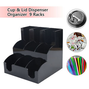 Coffee Cup lid Holder Organizer Condiment Caddy 9 Racks Stand Office Dispenser