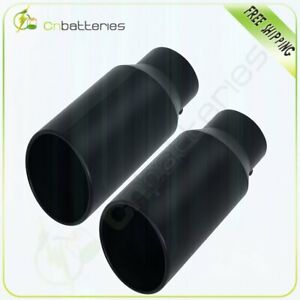 Black Stainless Steel Polished Exhaust Tip Bolt On 5 Inlet 7 Outlet 15 Length