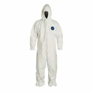 Tyvek Front Zip Hooded Coveralls Ty127swh Sizes M L 2xl