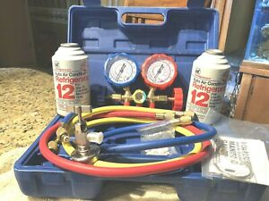 R12 Duel Manifold Diagnostic Kit With 2 14oz Cold Shot R12 see Photos