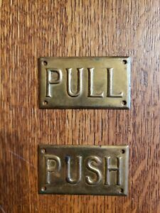 Antique Vintage Brass Door Plates Push Pull Store Theater Bank Gas Station