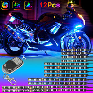 12x Motorcycle Led Lights Wireless Remote 18 Color Neon Glow Light Strips Kit Us