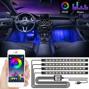 4pcs Car Rgb 48 Led Lights Strip Interior Neon Atmosphere Lamp With App Control