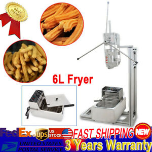 Stainless Steel Donut Churro Maker Machine With 6l Fryer 5 Nozzles Usa New