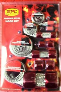 Hose Covering Kit With Red Anodized End Caps Braided Radiator Heater Fuel